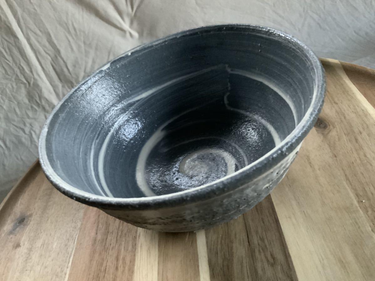 70 黒御影土 刷毛目 どんぶり 大鉢 丼 陶器 和食器_画像3