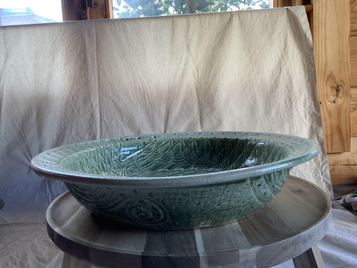 120 織部焼き おりべ 大皿 飾皿 飾り皿 オブジェ インテリア 陶器 和食器 釉薬_画像6