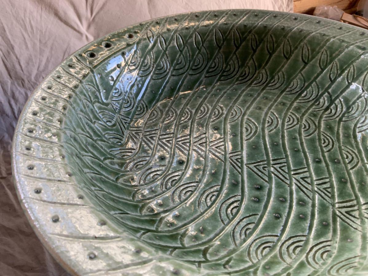 120 織部焼き おりべ 大皿 飾皿 飾り皿 オブジェ インテリア 陶器 和食器 釉薬_画像9