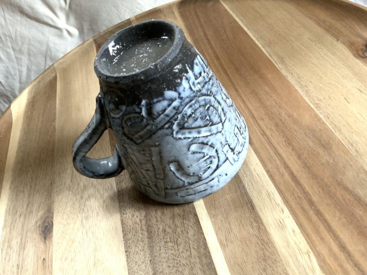 141 黒御影土 アルファベット マグカップ コーヒーカップ オブジェ インテリア 陶器 和食器 釉薬_画像6