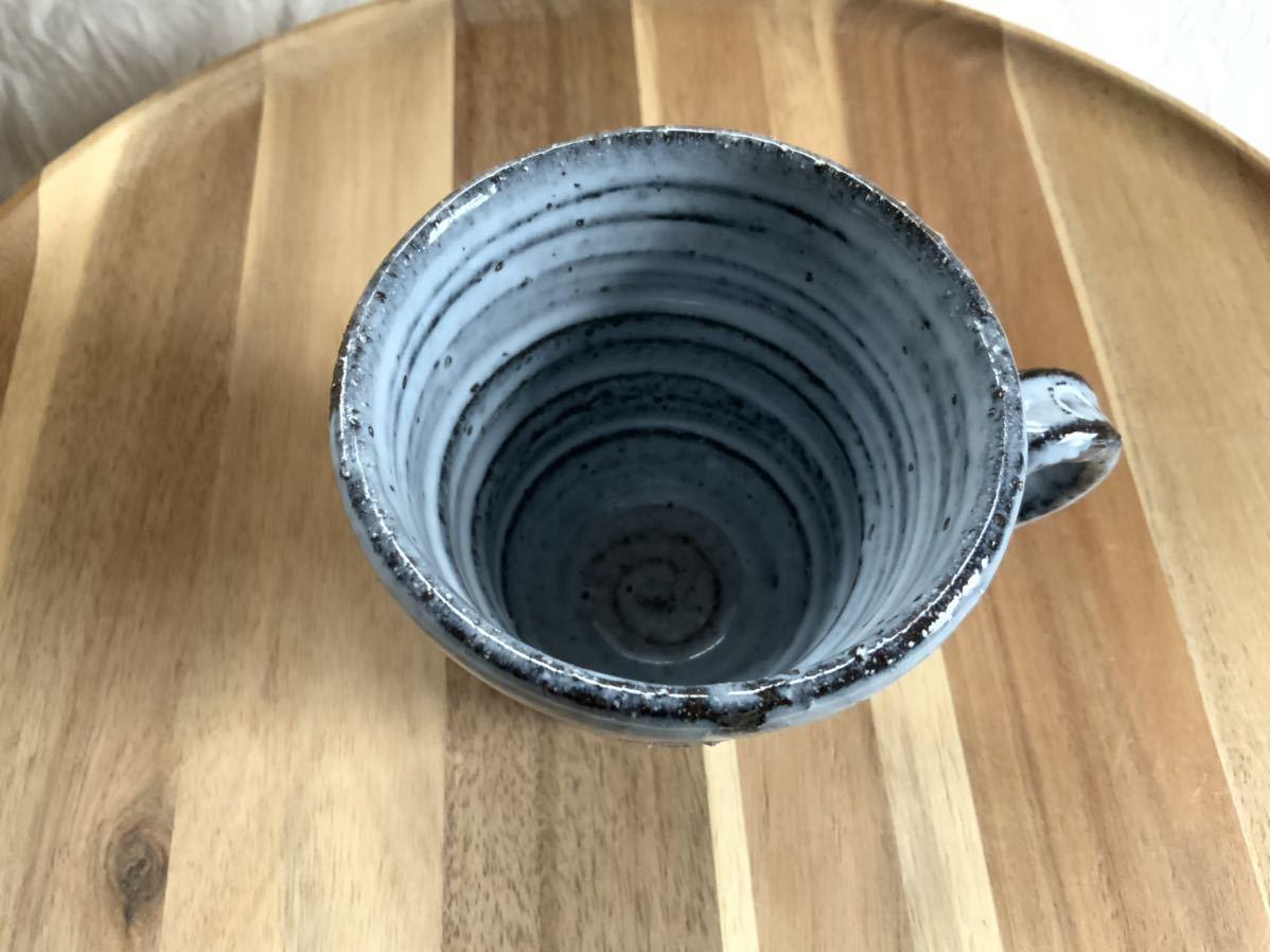 141 黒御影土 アルファベット マグカップ コーヒーカップ オブジェ インテリア 陶器 和食器 釉薬_画像3