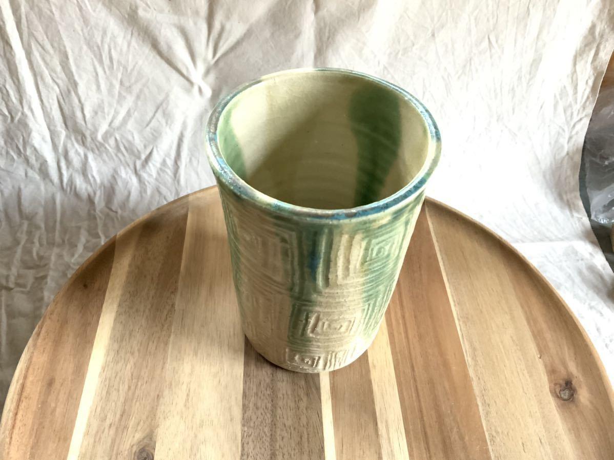 147 黄瀬戸 織部焼 花瓶 オブジェ インテリア 陶器 釉薬_画像3