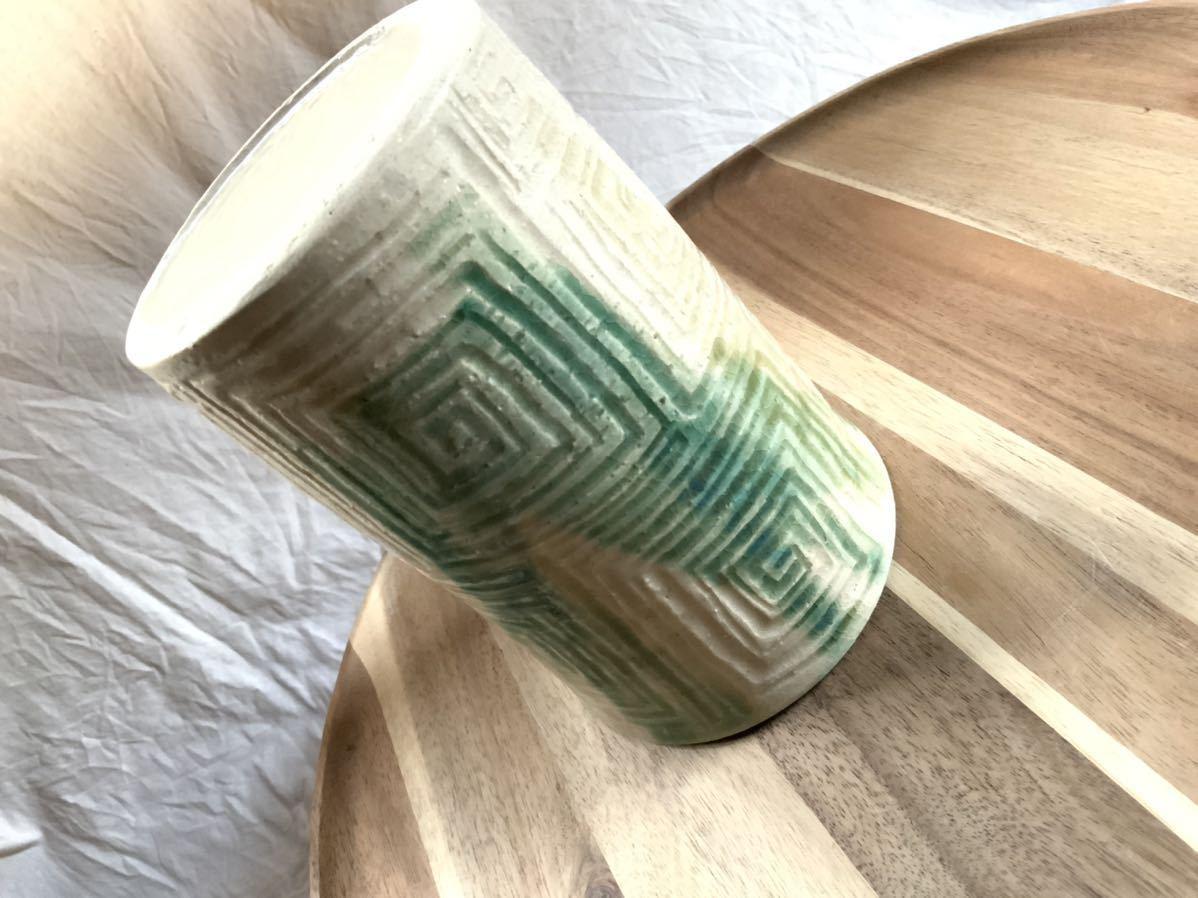 147 黄瀬戸 織部焼 花瓶 オブジェ インテリア 陶器 釉薬_画像5