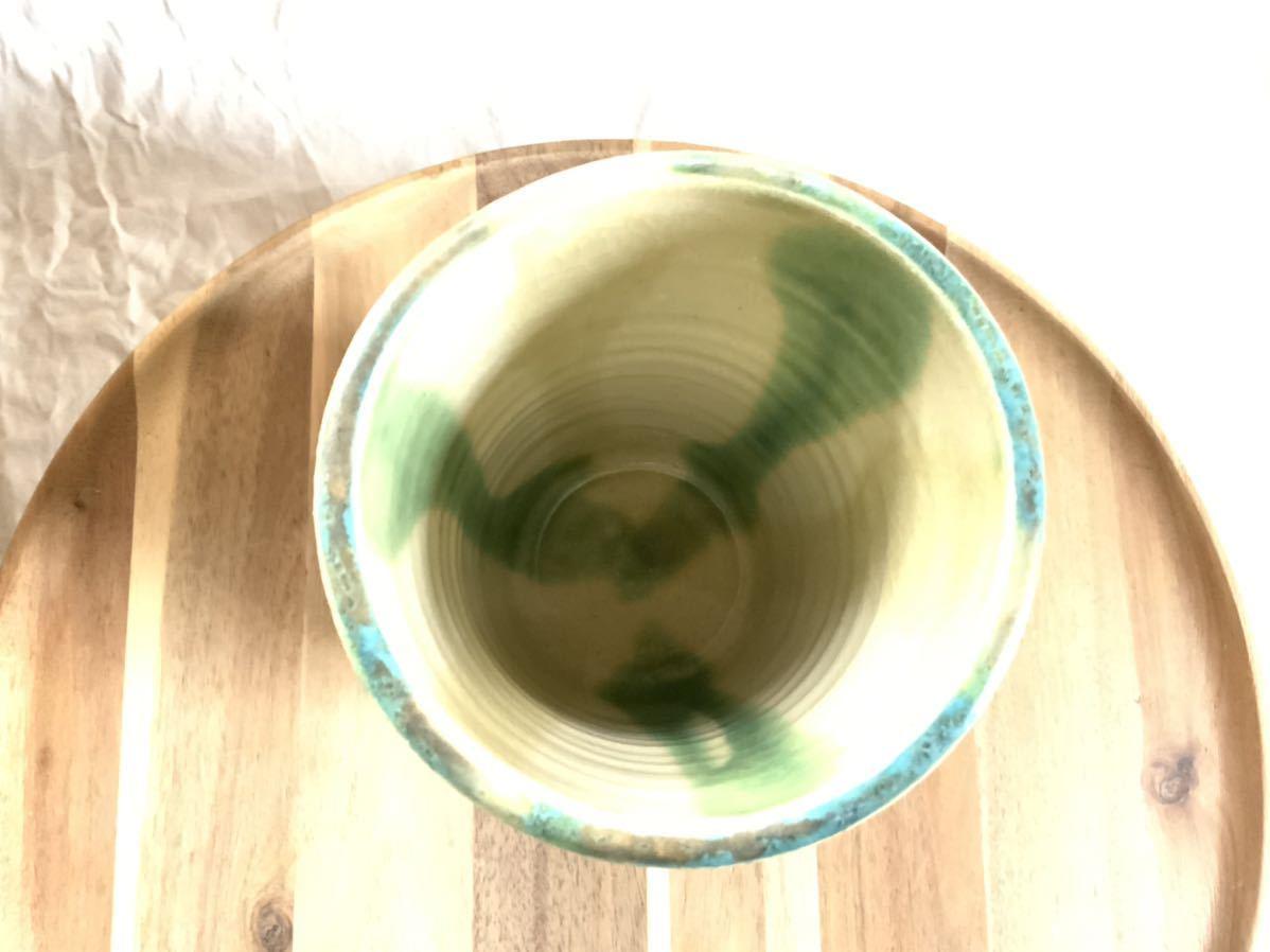 147 黄瀬戸 織部焼 花瓶 オブジェ インテリア 陶器 釉薬_画像4