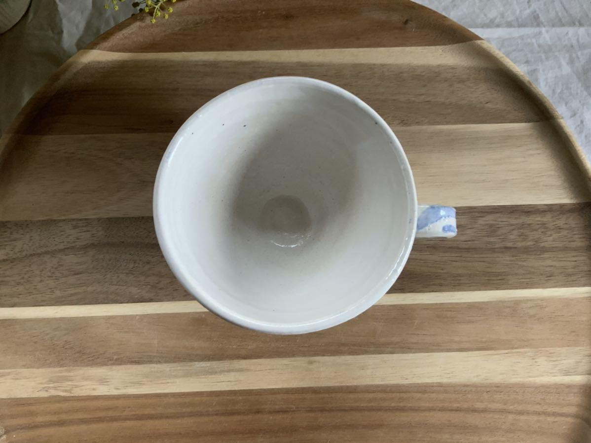 150 ホワイトブルー マグカップ コーヒーカップ オブジェ ティーカップ インテリア 陶器 釉薬_画像3