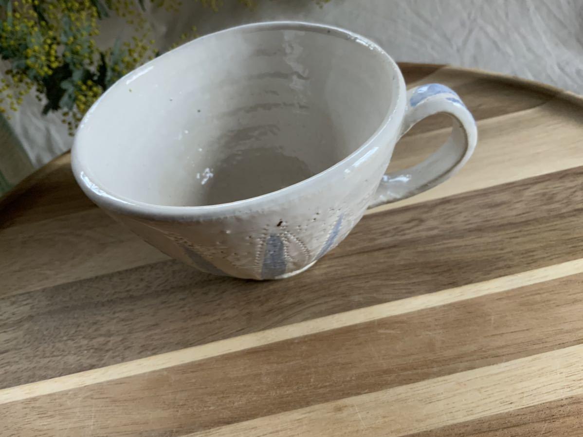 150 ホワイトブルー マグカップ コーヒーカップ オブジェ ティーカップ インテリア 陶器 釉薬_画像2