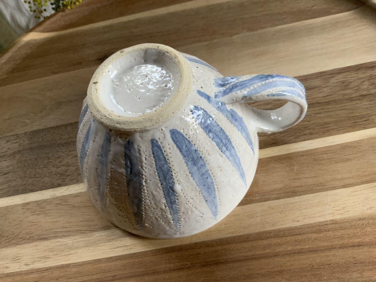 150 ホワイトブルー マグカップ コーヒーカップ オブジェ ティーカップ インテリア 陶器 釉薬_画像5
