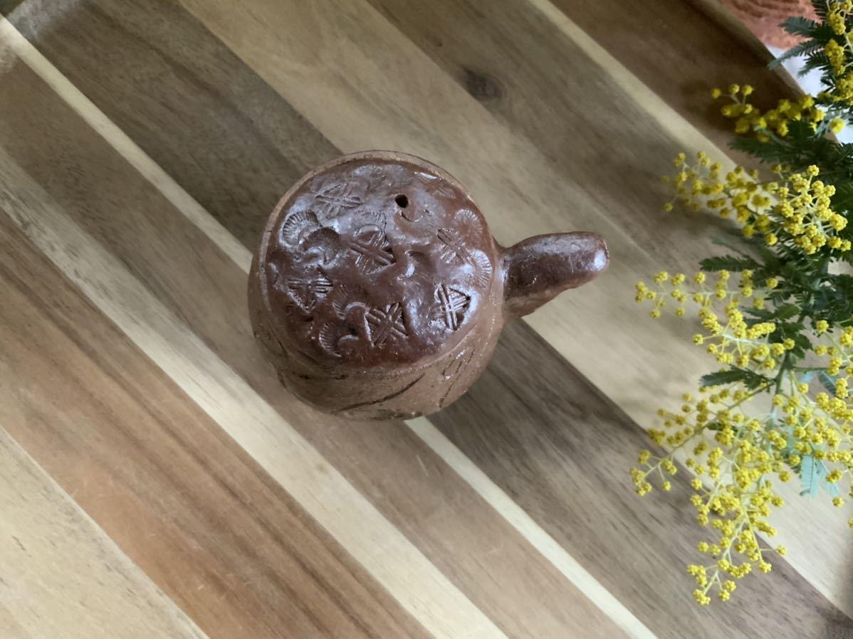 158 醤油さし 調味料入れ 蓋付き 焼き締め オブジェ インテリア 陶器 釉薬 しょうゆさし_画像3