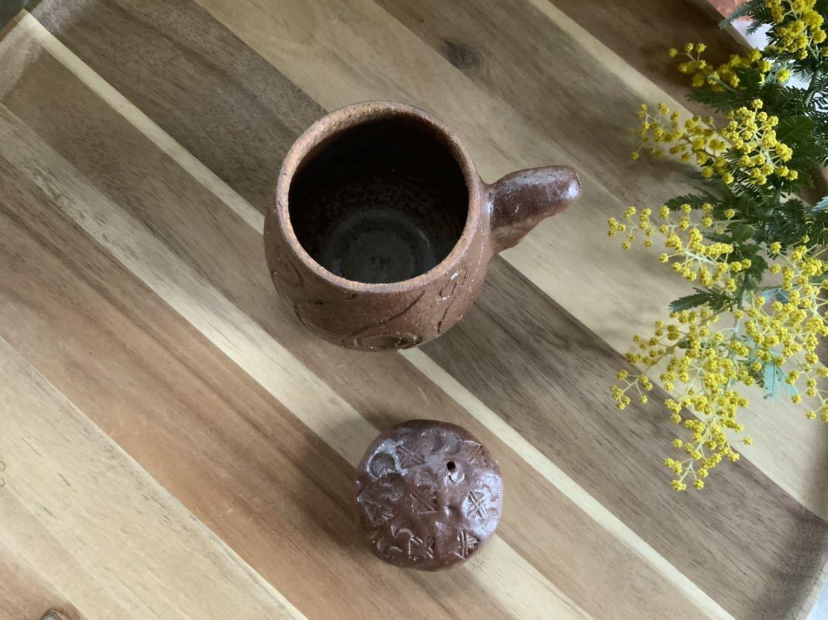 158 醤油さし 調味料入れ 蓋付き 焼き締め オブジェ インテリア 陶器 釉薬 しょうゆさし_画像4