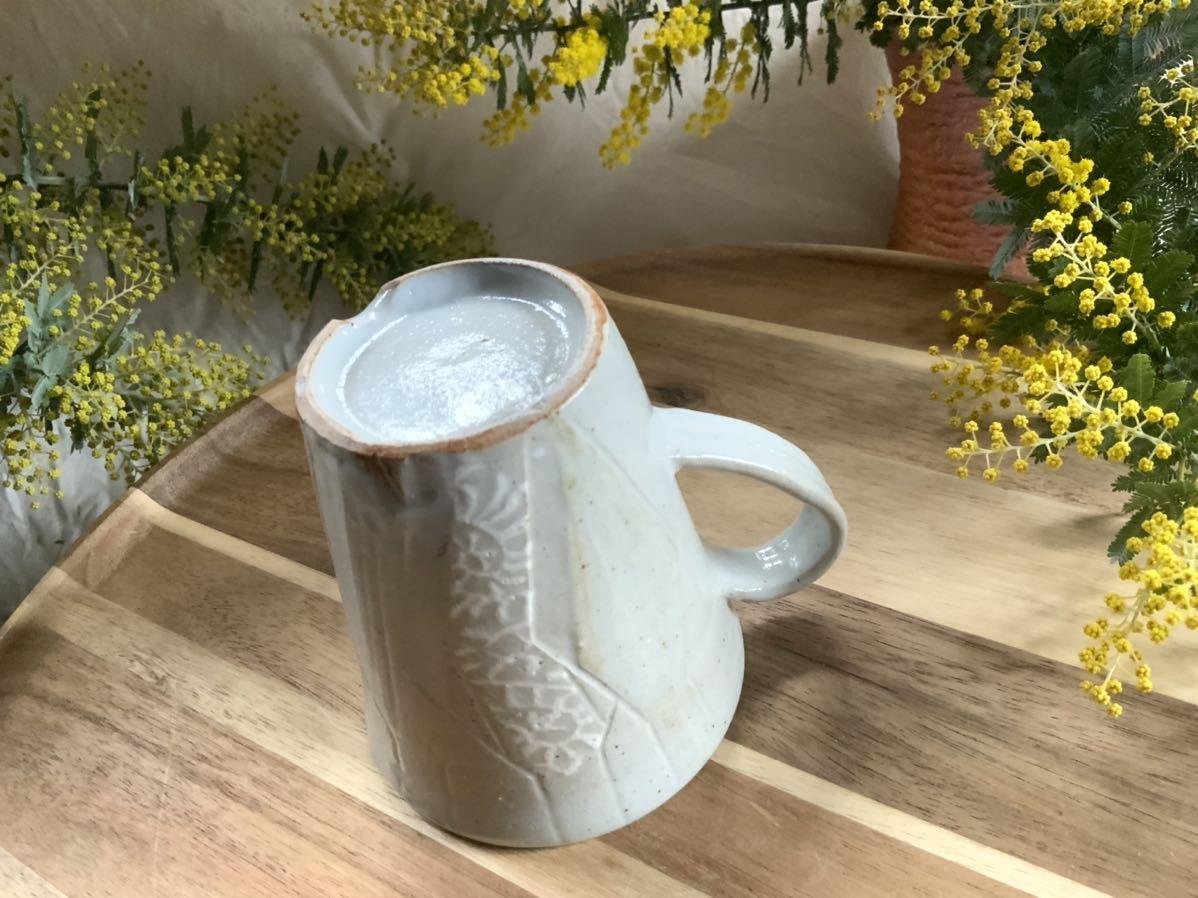 162 マグカップ コーヒーカップ ホワイト オブジェ インテリア 陶器 釉薬 アスタリスク_画像4