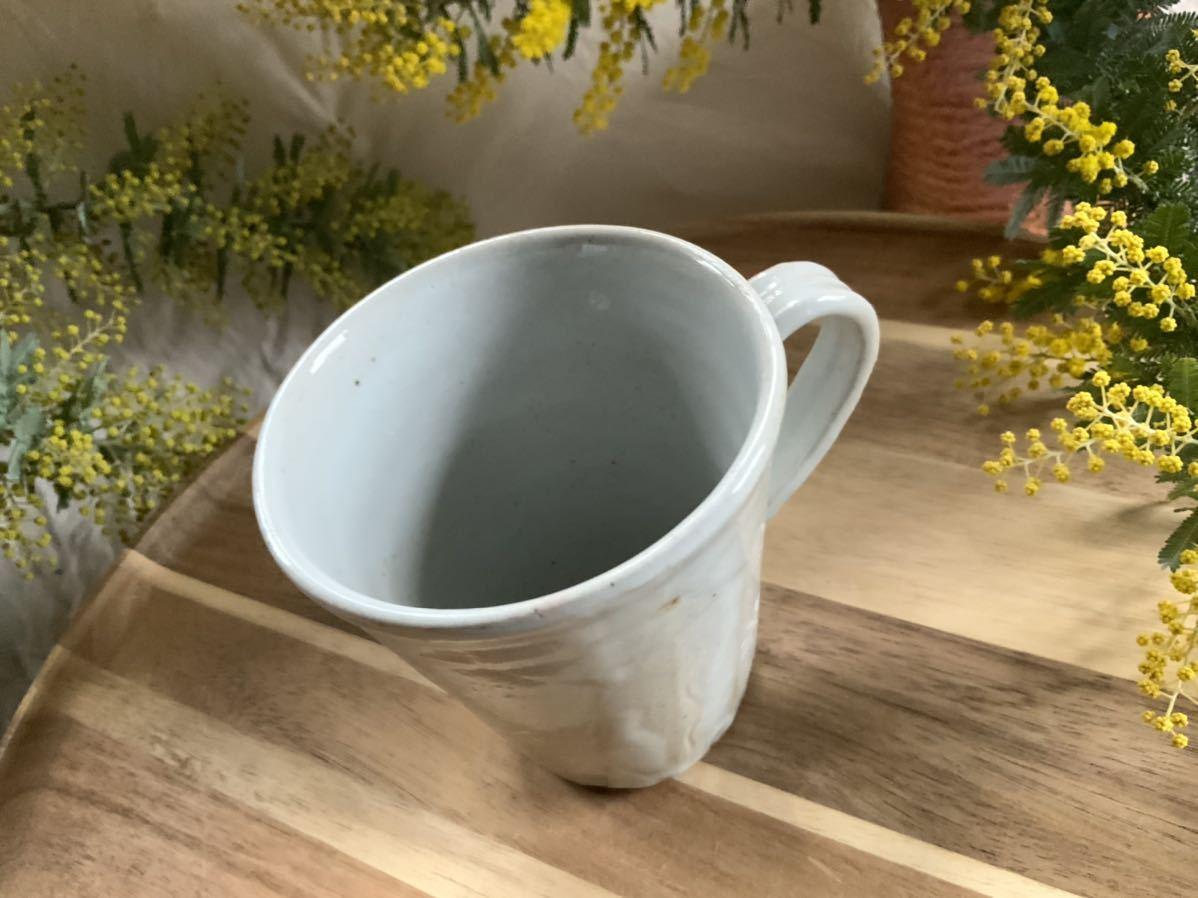 162 マグカップ コーヒーカップ ホワイト オブジェ インテリア 陶器 釉薬 アスタリスク_画像2