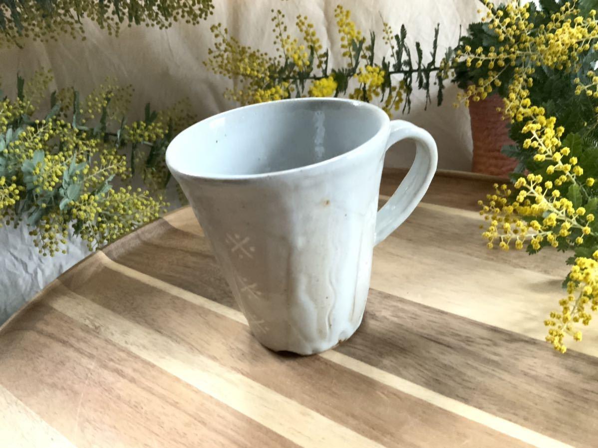 162 マグカップ コーヒーカップ ホワイト オブジェ インテリア 陶器 釉薬 アスタリスク_画像1