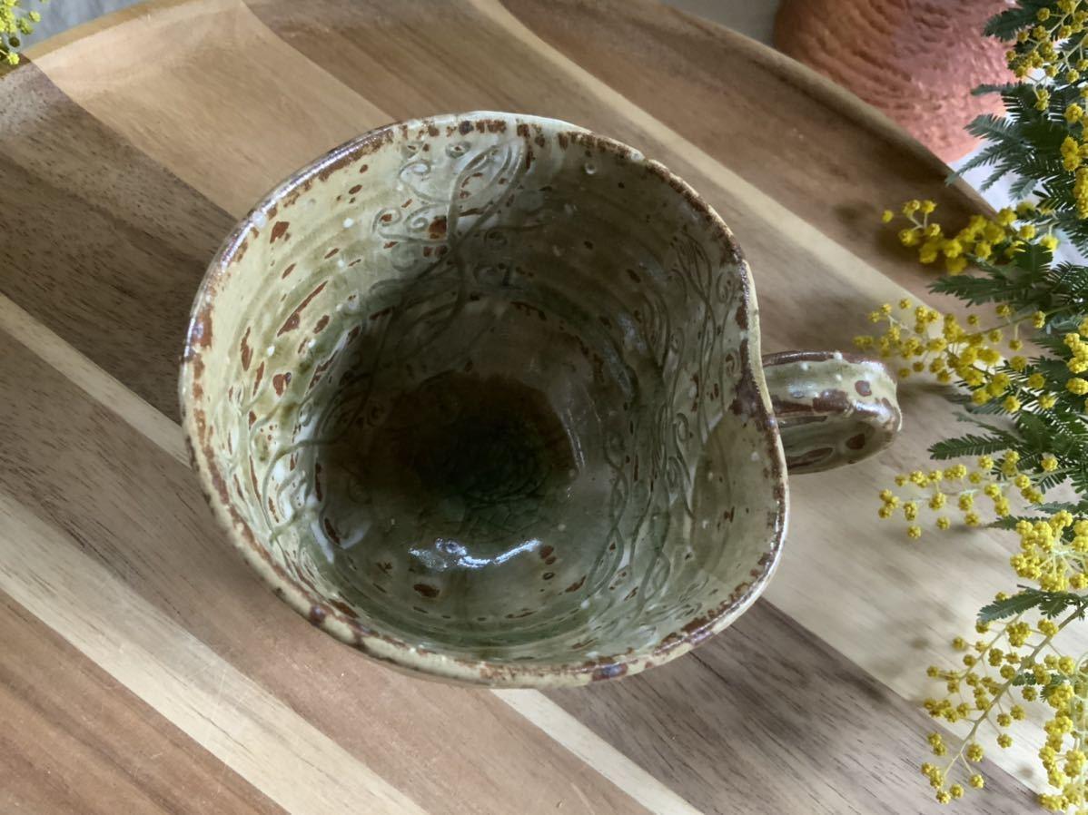 170 黄瀬戸 マグカップ コーヒーカップ オブジェ インテリア 陶器 釉薬 珈琲 食器 草花_画像3