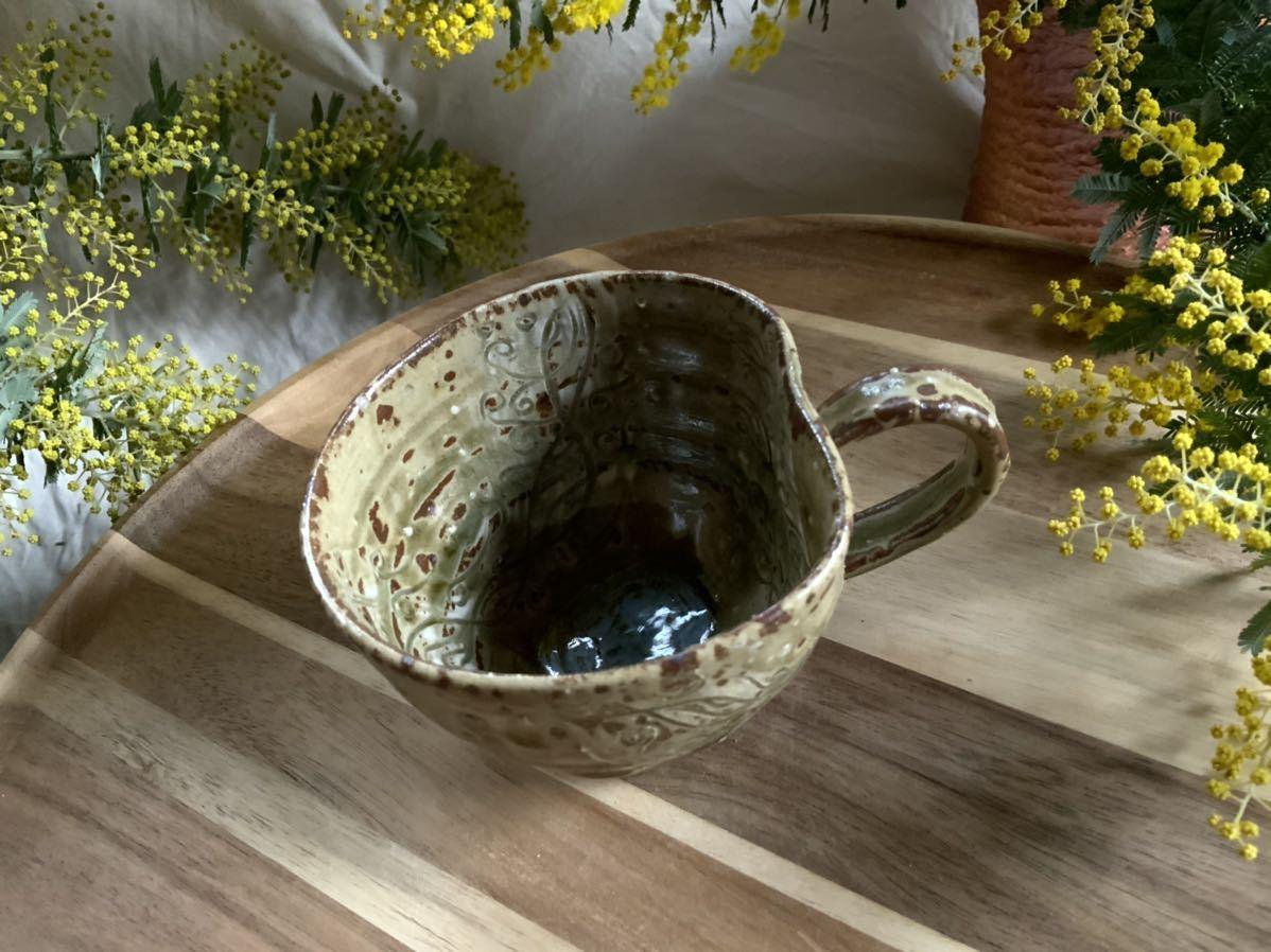 170 黄瀬戸 マグカップ コーヒーカップ オブジェ インテリア 陶器 釉薬 珈琲 食器 草花_画像2