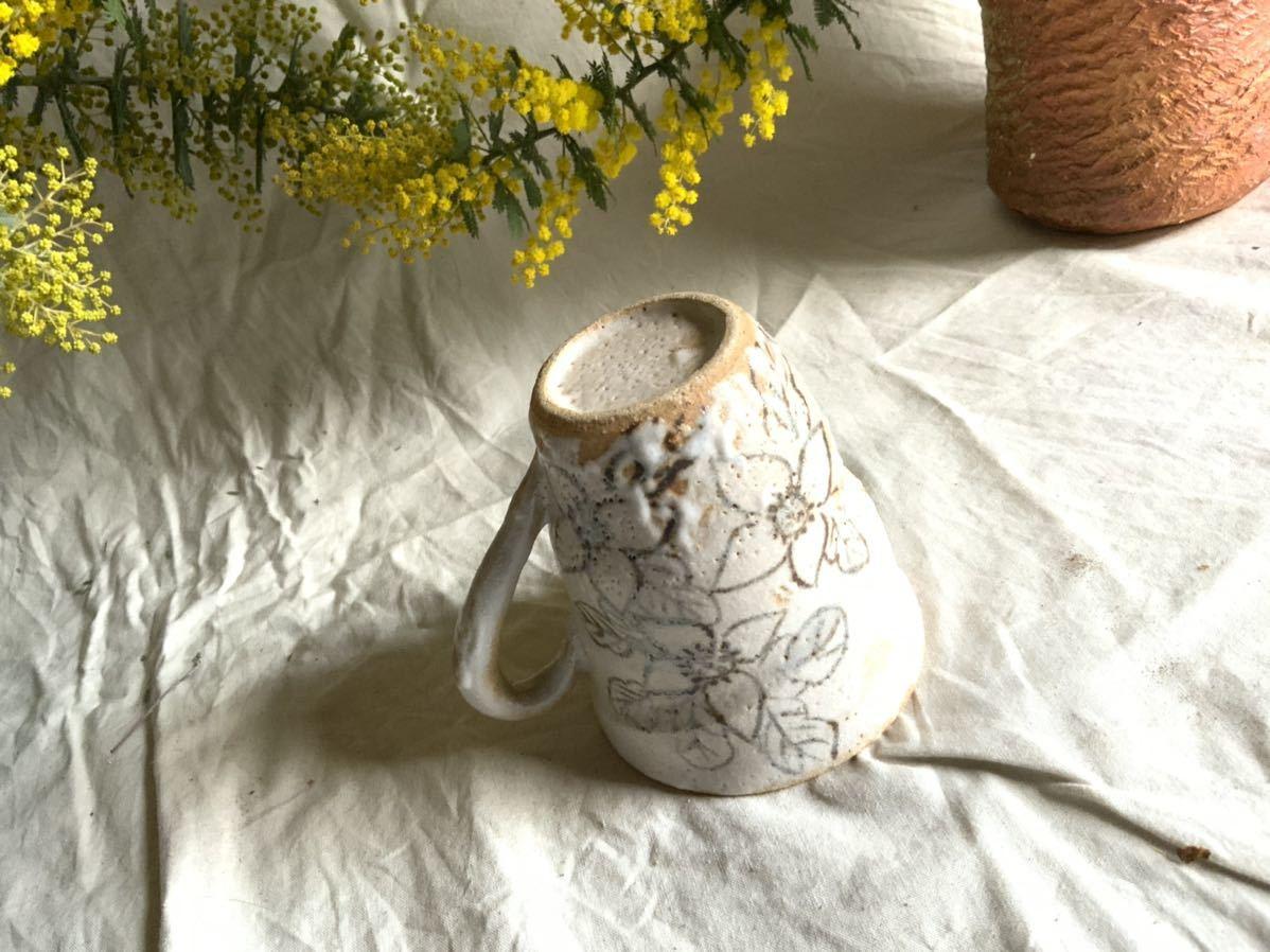 173 花の絵 志野 マグカップ コーヒーカップ ティーカップ オブジェ インテリア 陶器 釉薬 珈琲 食器 草花_画像8