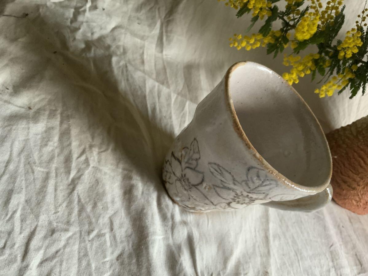 173 花の絵 志野 マグカップ コーヒーカップ ティーカップ オブジェ インテリア 陶器 釉薬 珈琲 食器 草花_画像5
