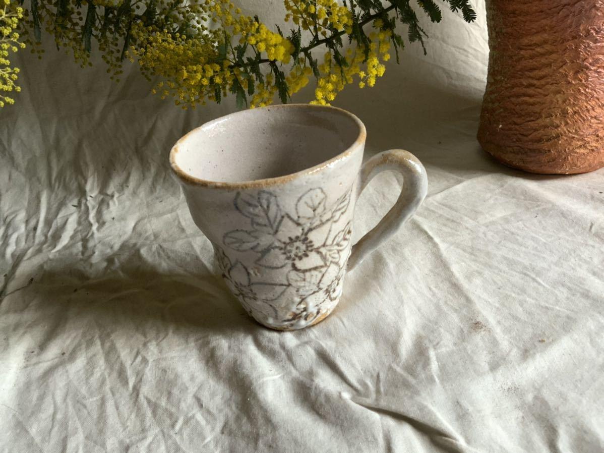 173 花の絵 志野 マグカップ コーヒーカップ ティーカップ オブジェ インテリア 陶器 釉薬 珈琲 食器 草花_画像2