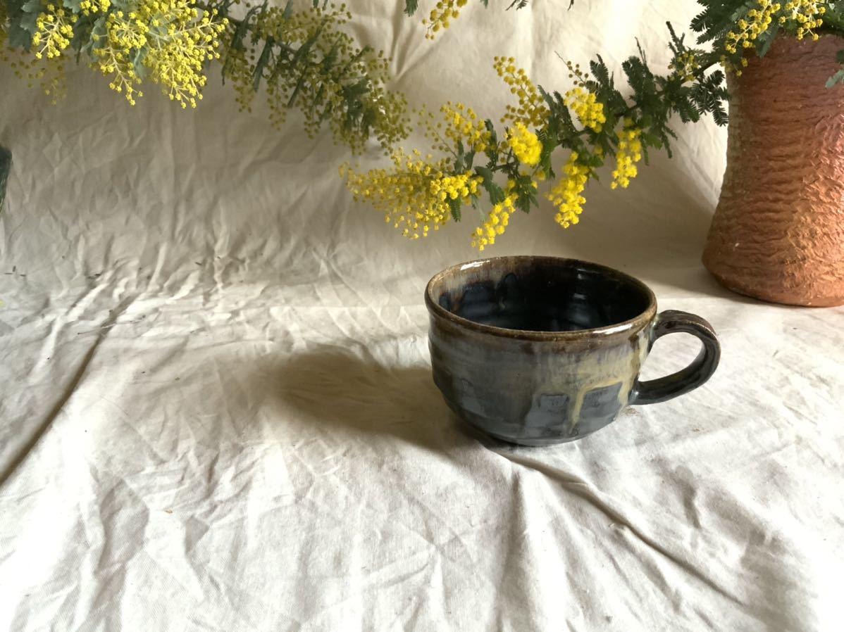 174 黒釉薬 マグカップ コーヒーカップ ティーカップ オブジェ インテリア 陶器 釉薬 珈琲 食器_画像1