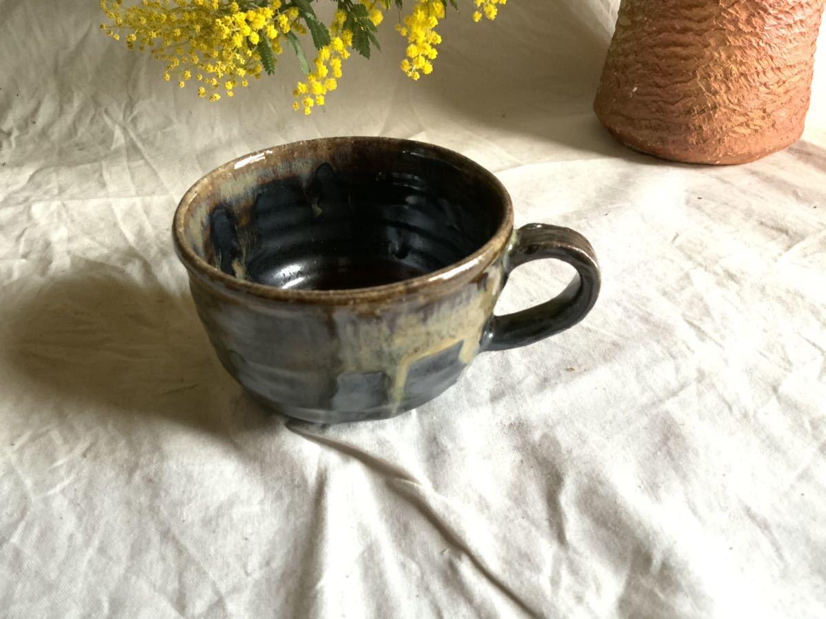 174 黒釉薬 マグカップ コーヒーカップ ティーカップ オブジェ インテリア 陶器 釉薬 珈琲 食器_画像2