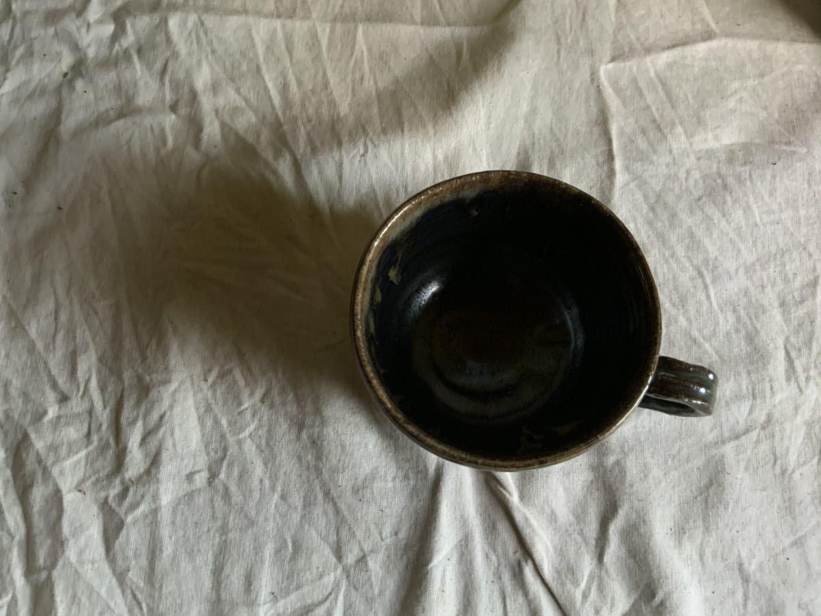 174 黒釉薬 マグカップ コーヒーカップ ティーカップ オブジェ インテリア 陶器 釉薬 珈琲 食器_画像4