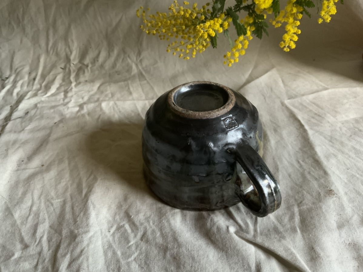 174 黒釉薬 マグカップ コーヒーカップ ティーカップ オブジェ インテリア 陶器 釉薬 珈琲 食器_画像5