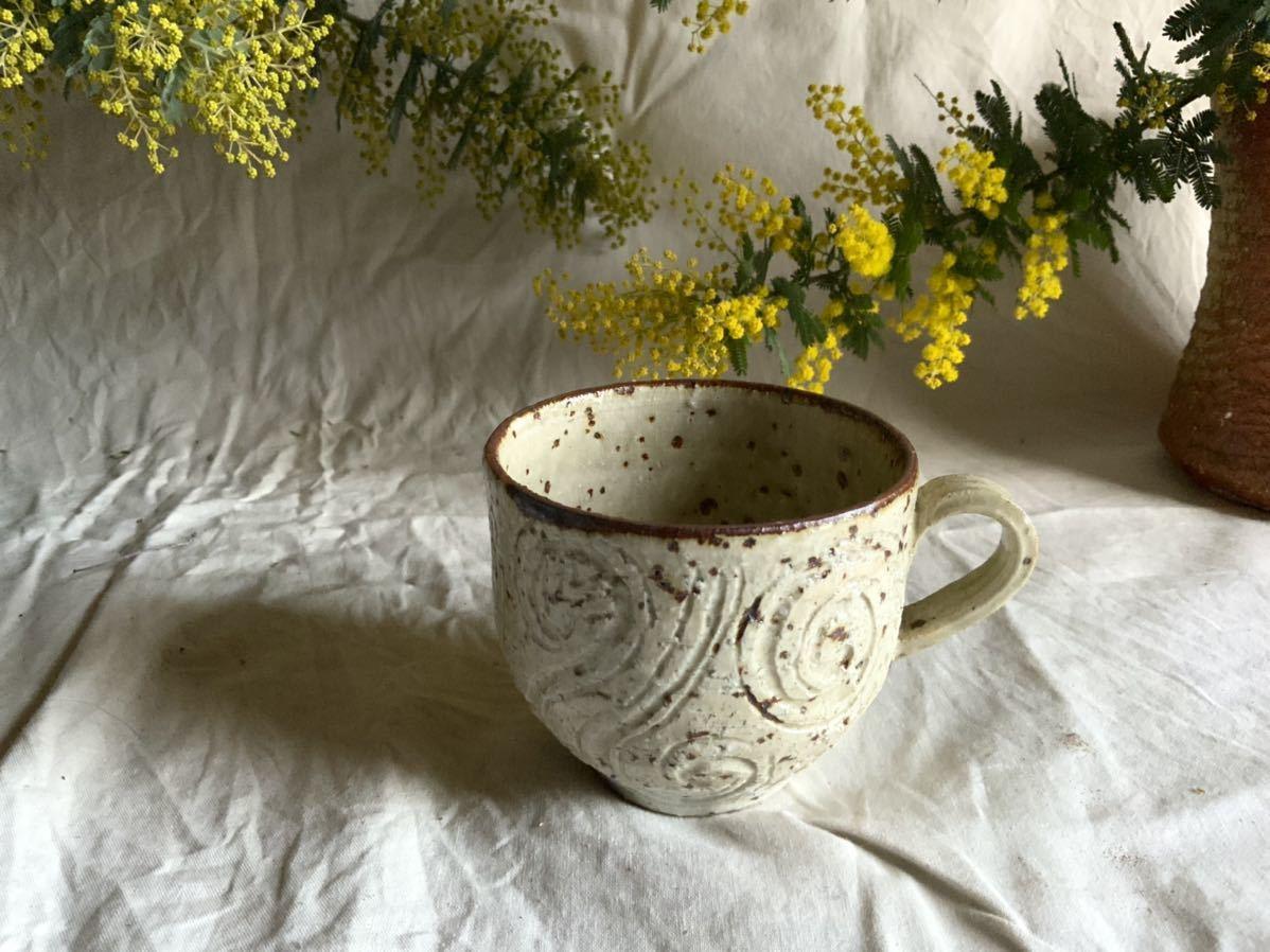 175 白御影土 マグカップ コーヒーカップ ティーカップ オブジェ インテリア 陶器 釉薬 珈琲 食器_画像1