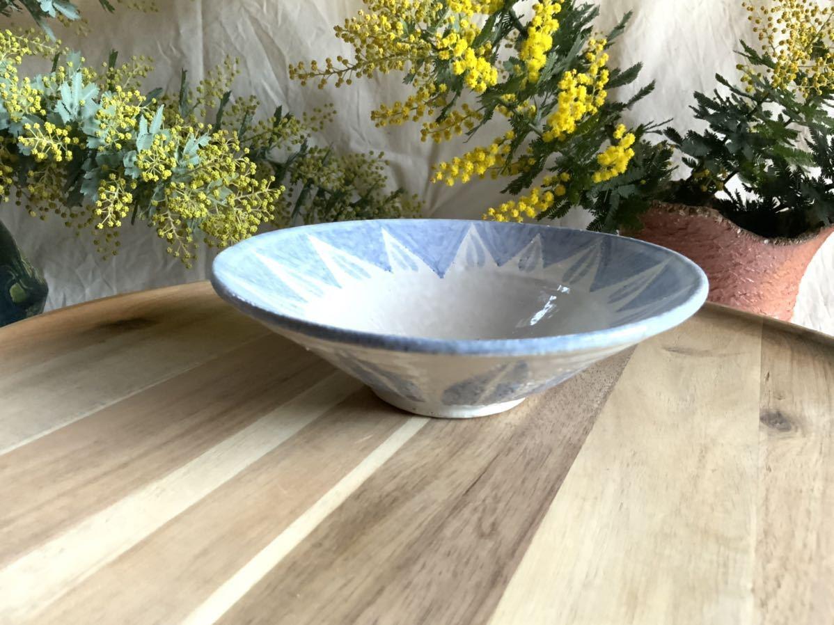 183 ブルー中皿 パスタ皿 カレー皿 プレート オブジェ インテリア 陶器 釉薬 食器_画像2