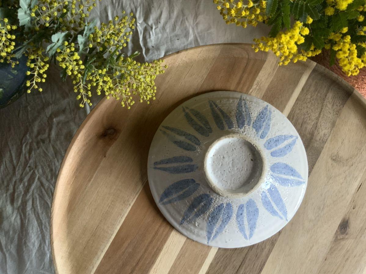 183 ブルー中皿 パスタ皿 カレー皿 プレート オブジェ インテリア 陶器 釉薬 食器_画像4