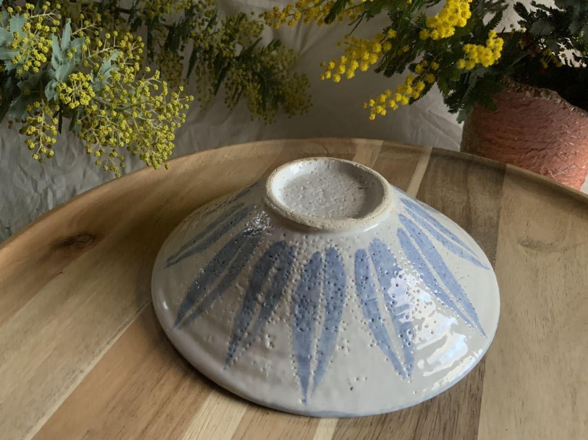 183 ブルー中皿 パスタ皿 カレー皿 プレート オブジェ インテリア 陶器 釉薬 食器_画像5