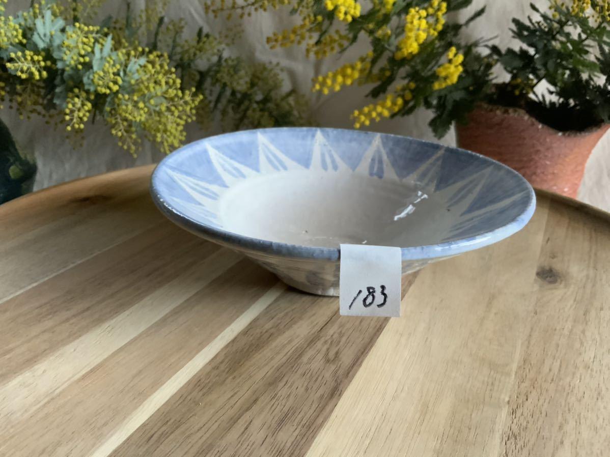 183 ブルー中皿 パスタ皿 カレー皿 プレート オブジェ インテリア 陶器 釉薬 食器_画像6