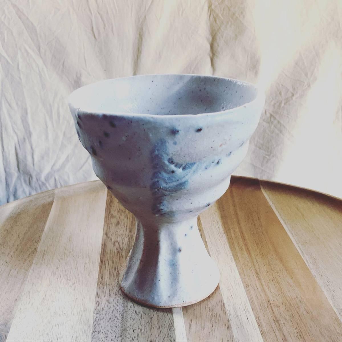 136 ゴブレット 高杯 盃 辰砂 酒器 オブジェ インテリア 陶器 和食器 釉薬_画像1