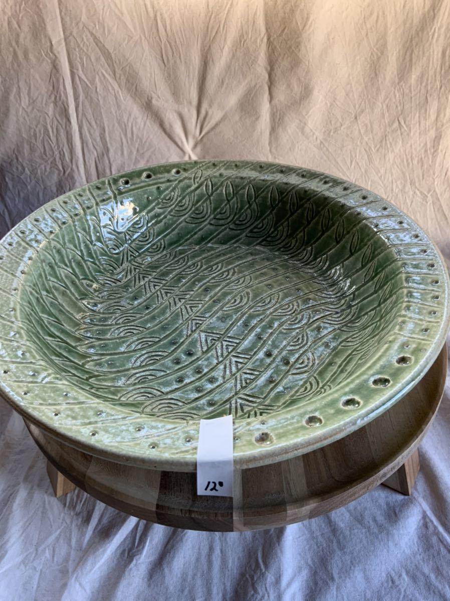 120 織部焼き おりべ 大皿 飾皿 飾り皿 オブジェ インテリア 陶器 和食器 釉薬_画像10