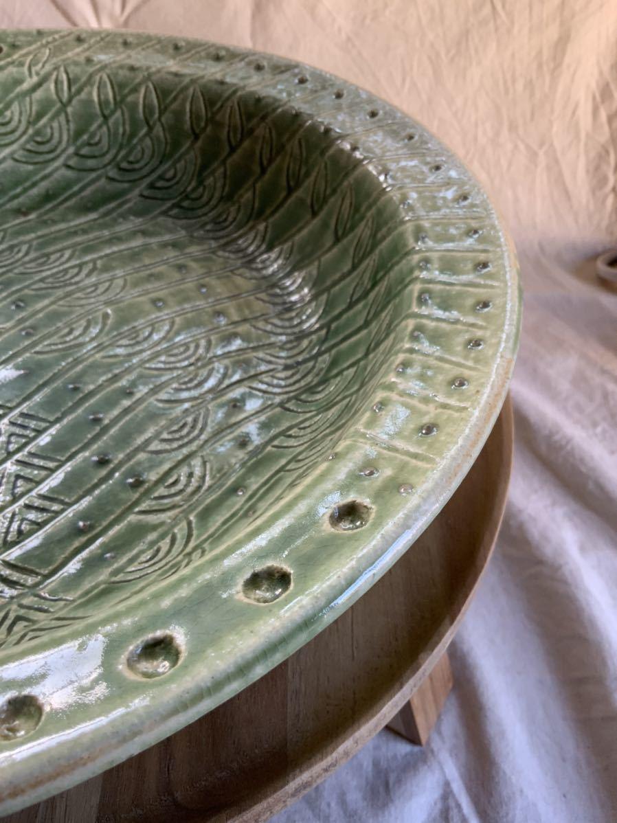 120 織部焼き おりべ 大皿 飾皿 飾り皿 オブジェ インテリア 陶器 和食器 釉薬_画像7