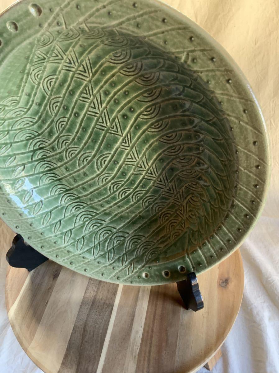 120 織部焼き おりべ 大皿 飾皿 飾り皿 オブジェ インテリア 陶器 和食器 釉薬_画像2