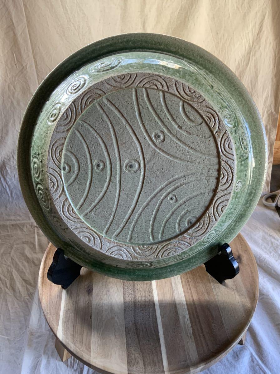 120 織部焼き おりべ 大皿 飾皿 飾り皿 オブジェ インテリア 陶器 和食器 釉薬_画像5