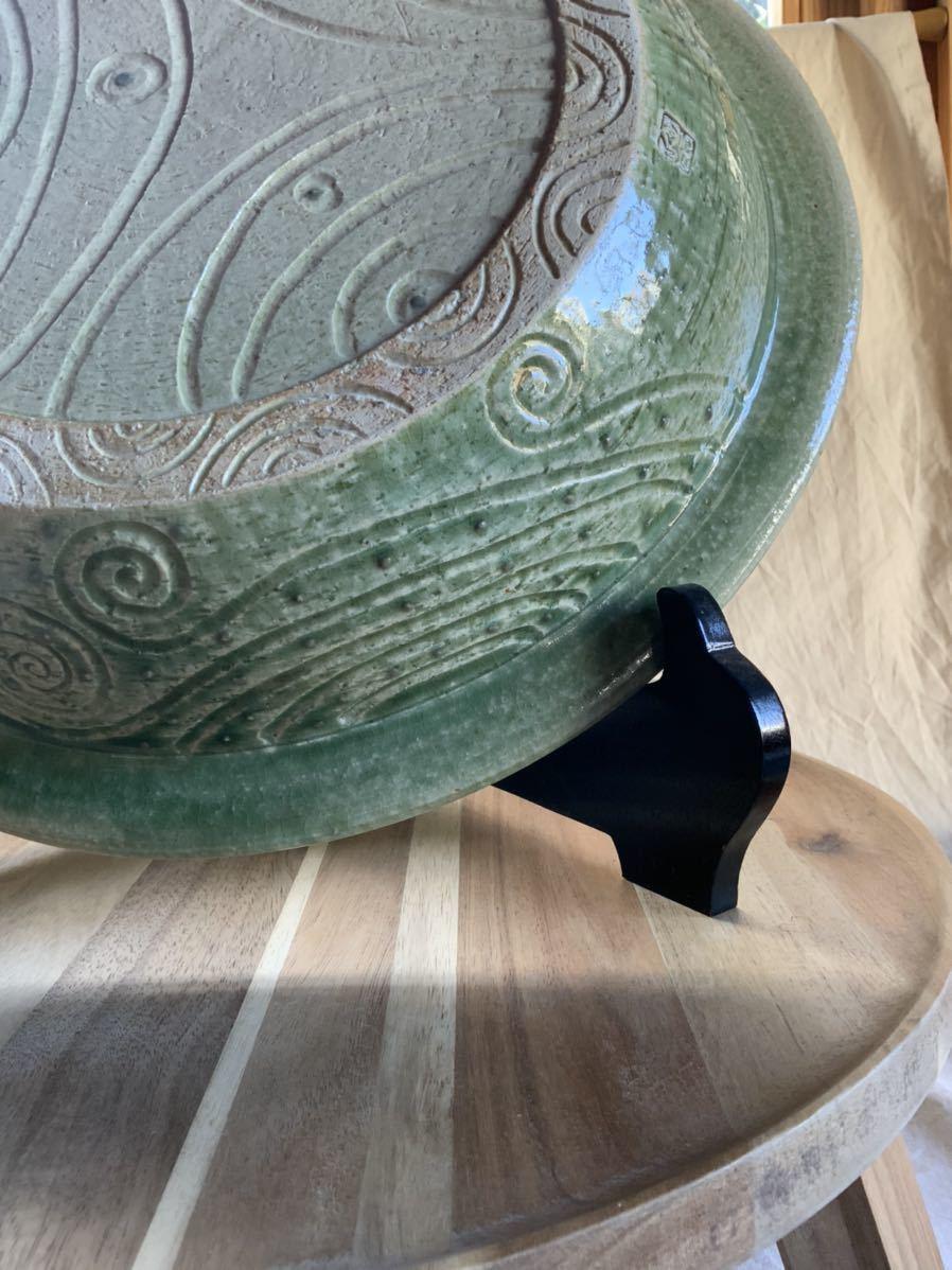 120 織部焼き おりべ 大皿 飾皿 飾り皿 オブジェ インテリア 陶器 和食器 釉薬_画像4