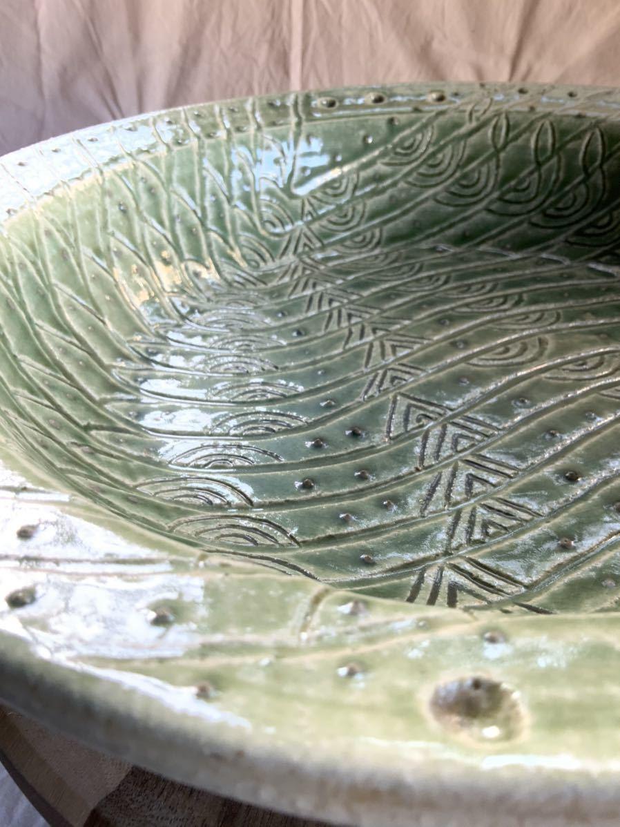 120 織部焼き おりべ 大皿 飾皿 飾り皿 オブジェ インテリア 陶器 和食器 釉薬_画像8
