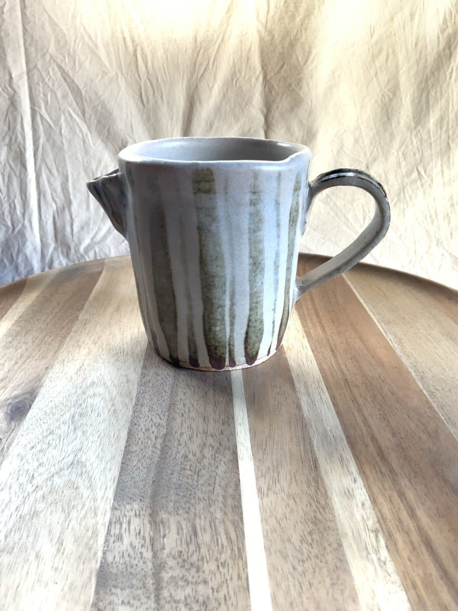 124 ピッチャー ストライプ柄 オブジェ インテリア 陶器 和食器 釉薬_画像1