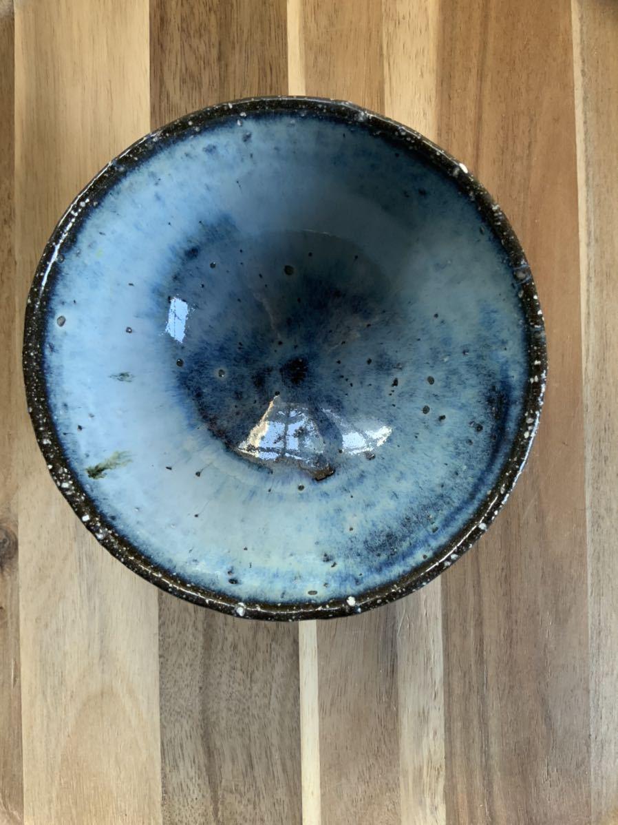 127 黒御影土 茶碗 飯椀 メシ椀 めし椀 オブジェ インテリア 陶器 和食器 釉薬 ブルー_画像3