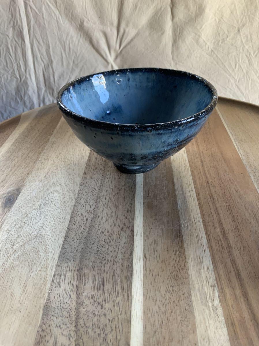 127 黒御影土 茶碗 飯椀 メシ椀 めし椀 オブジェ インテリア 陶器 和食器 釉薬 ブルー_画像1