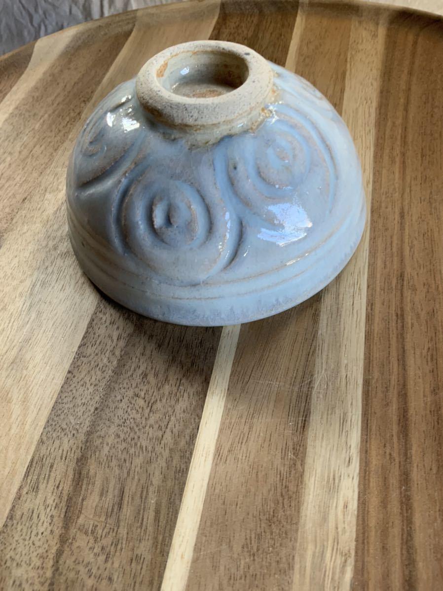 128 ライトブルーの茶碗 飯椀 メシ椀 めし椀 オブジェ インテリア 陶器 和食器 釉薬 水色 お茶碗_画像3