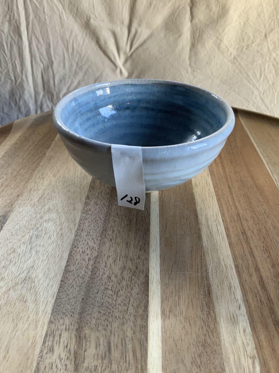 128 ライトブルーの茶碗 飯椀 メシ椀 めし椀 オブジェ インテリア 陶器 和食器 釉薬 水色 お茶碗_画像6