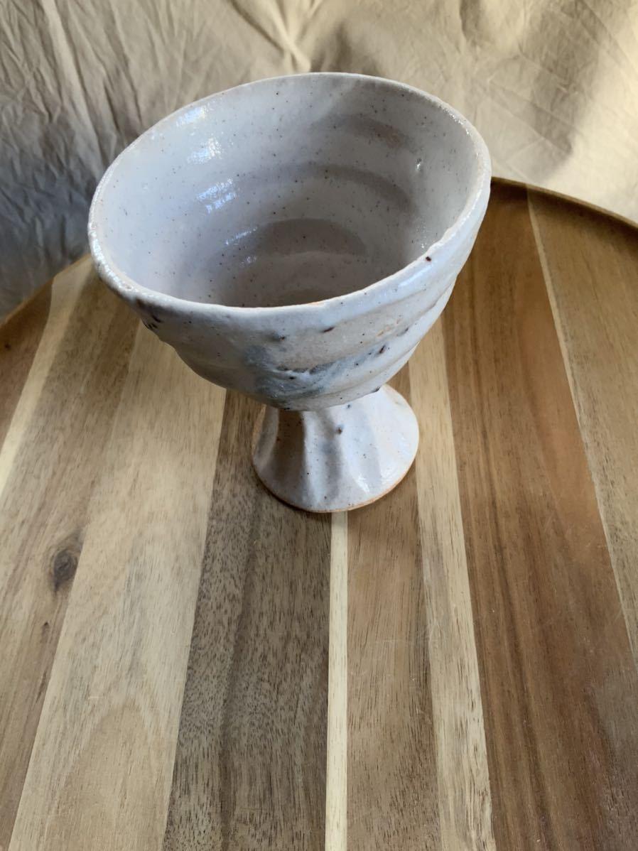 136 ゴブレット 高杯 盃 辰砂 酒器 オブジェ インテリア 陶器 和食器 釉薬_画像2