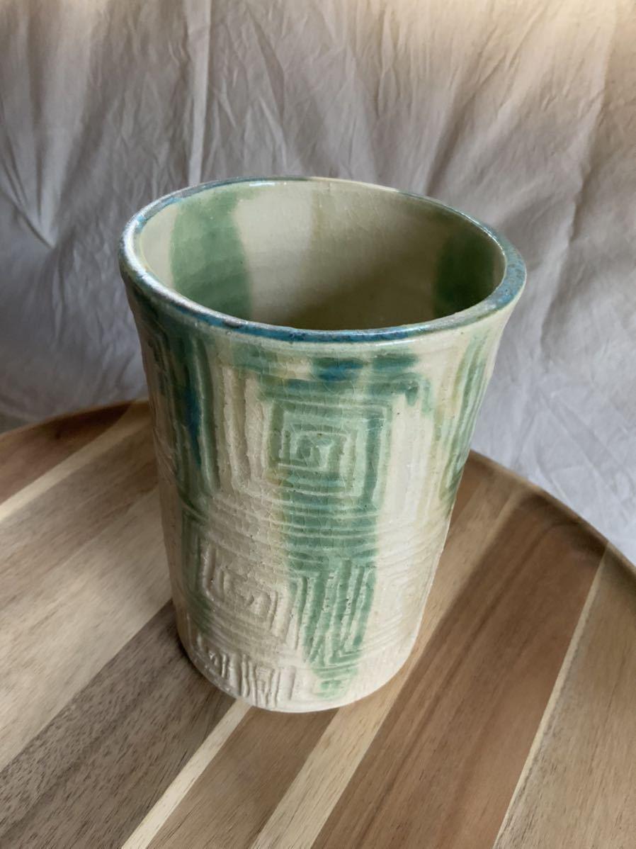 147 黄瀬戸 織部焼 花瓶 オブジェ インテリア 陶器 釉薬_画像2