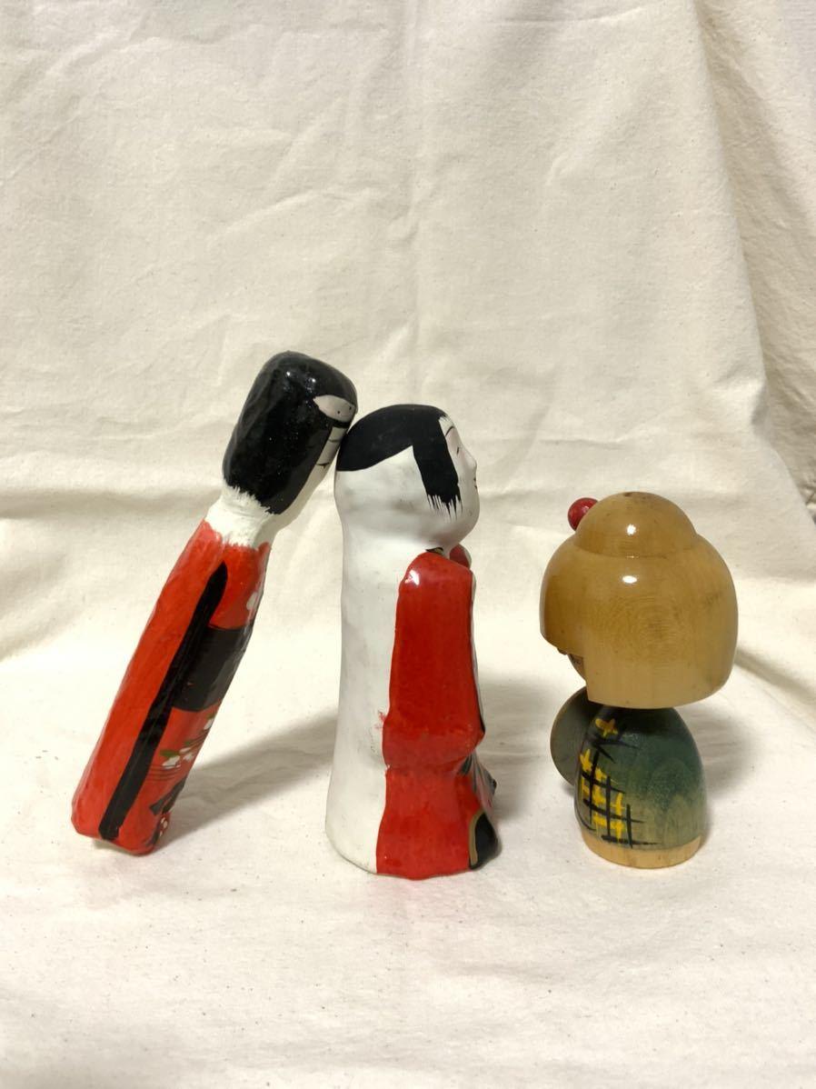 L 伝統こけし 郷土玩具 民芸 昭和レトロ 民芸品 張り子人形 3点セット_画像7