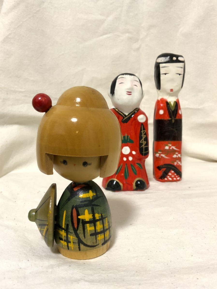 L 伝統こけし 郷土玩具 民芸 昭和レトロ 民芸品 張り子人形 3点セット_画像1