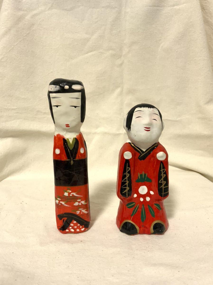 L 伝統こけし 郷土玩具 民芸 昭和レトロ 民芸品 張り子人形 3点セット_画像5