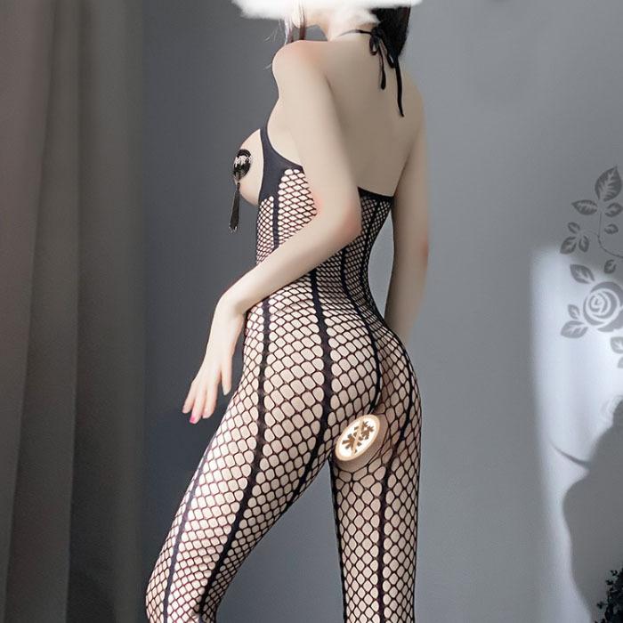 B425 セクシーランジェリー 透け透けメッシュ オープンバスト オープンクロッチ 全身タイツ コスプレ衣装 ナイトウエア_画像6