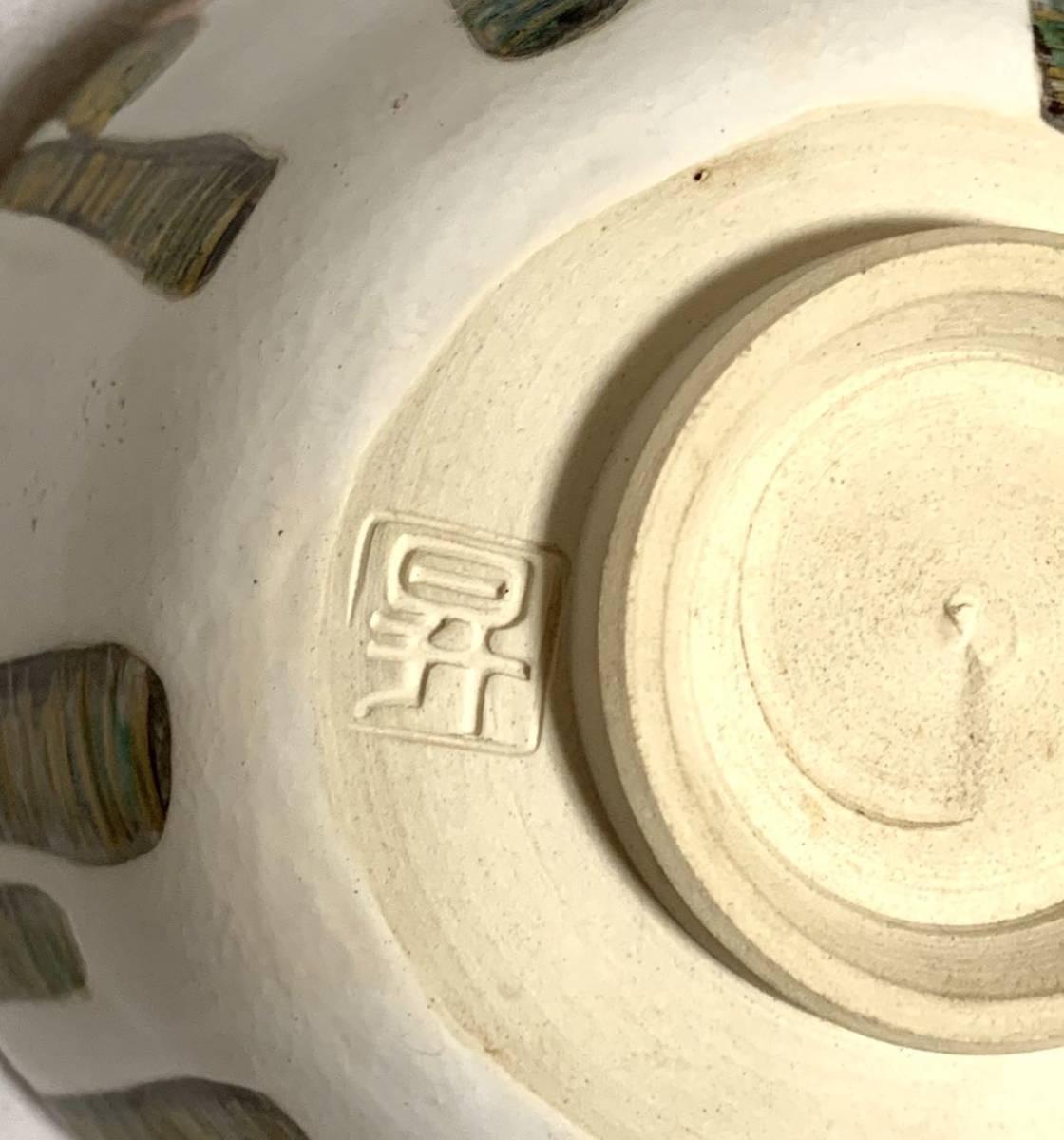 【未使用品】19 茶道具 昇 茶碗 茶道 色絵 お茶 道具 陶器 焼物 京焼 茶器 抹茶碗 骨董 伝統 工芸 作家 陶芸 在銘 華やか 器_画像7