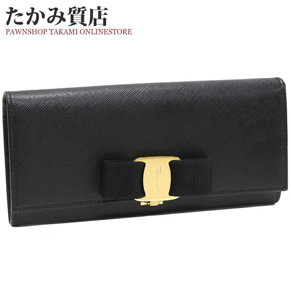 サルヴァトーレ・フェラガモ ヴァラ カーフ 黒 22B559 ファスナー長財布(小銭入れあり)_画像1